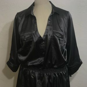 Dark Grey Size: 2X Long Top with Stretch Waist